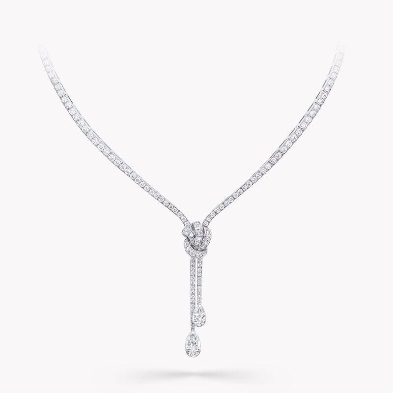 Knot Pavé Diamond Necklace, , hi-res