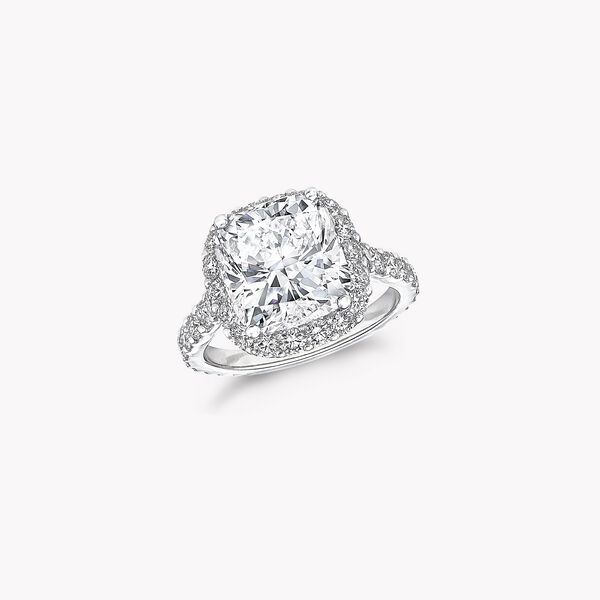Icon Cushion Cut Diamond Engagement Ring White Gold Graff