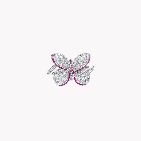 Princess Butterfly Pink and Purple Sapphire and Diamond Ring, , hi-res