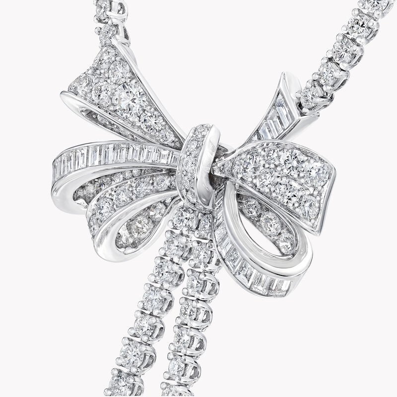 Collier en diamants ronds double brin Bow, , hi-res