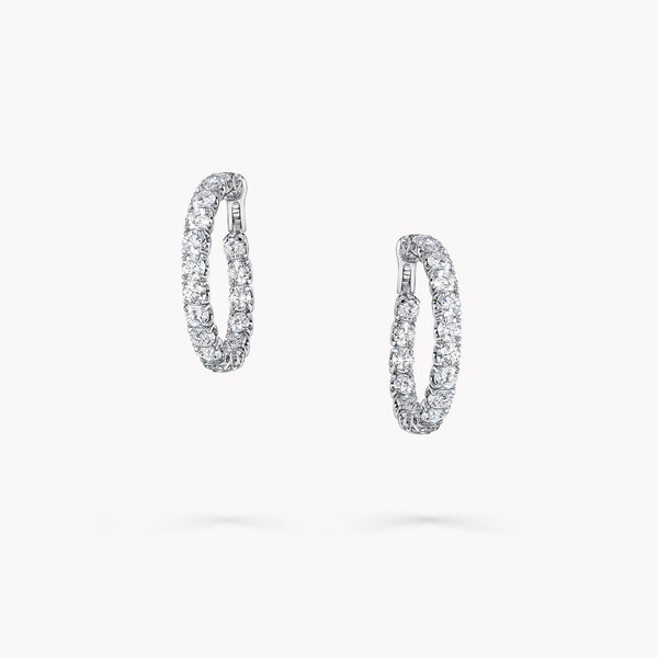 Round Diamond Hoop Earrings, , hi-res