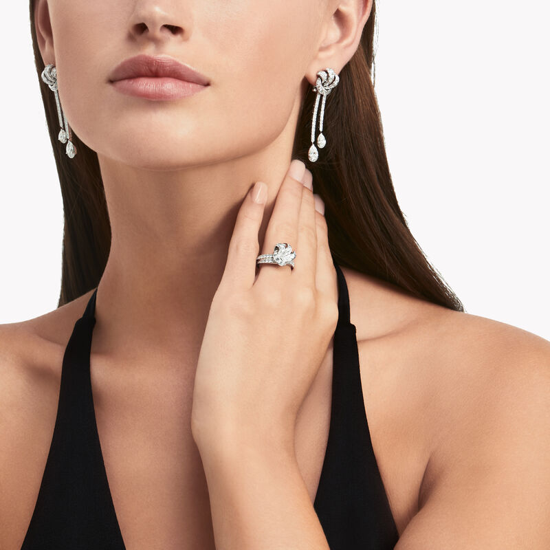 Tilda's Bow Double Pavé Diamond Drop Earrings, , hi-res