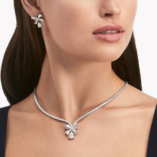 Tilda's Bow Baguette Cut Diamond Drop Necklace, , hi-res