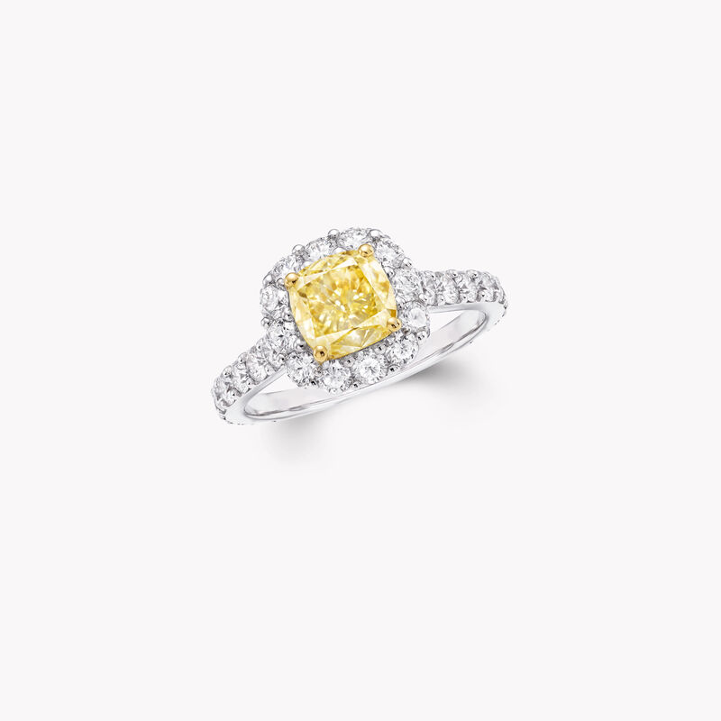 Icon Cushion Cut Yellow and White Diamond Engagement Ring, , hi-res