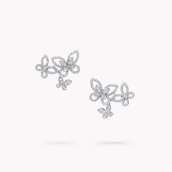 Boucles d'oreilles en diamants Triple Butterfly Silhouette, , hi-res