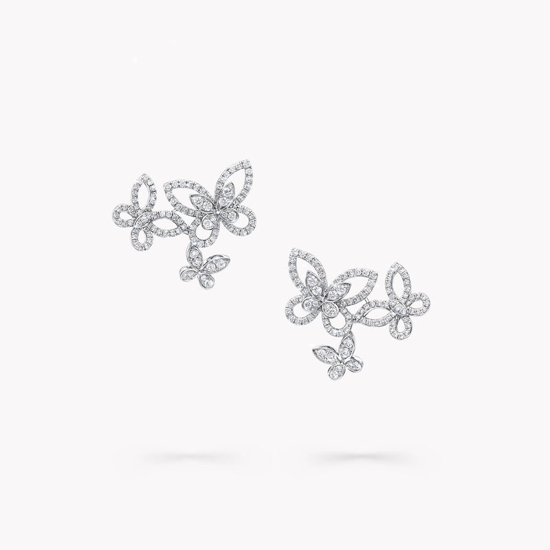 Triple Butterfly Silhouette Diamond Earrings, , hi-res