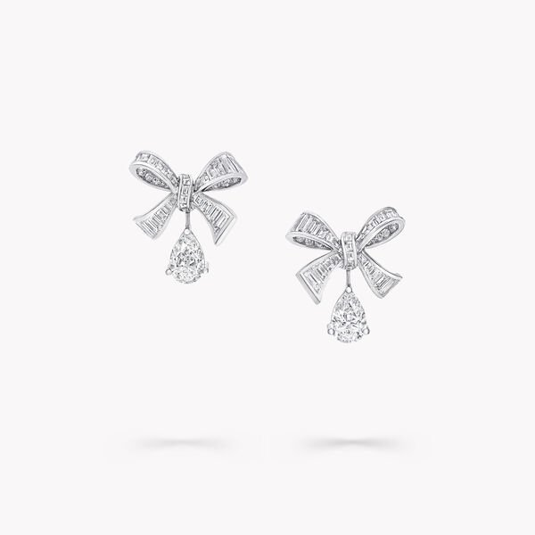 Bow Baguette Cut Diamond Earrings, , hi-res