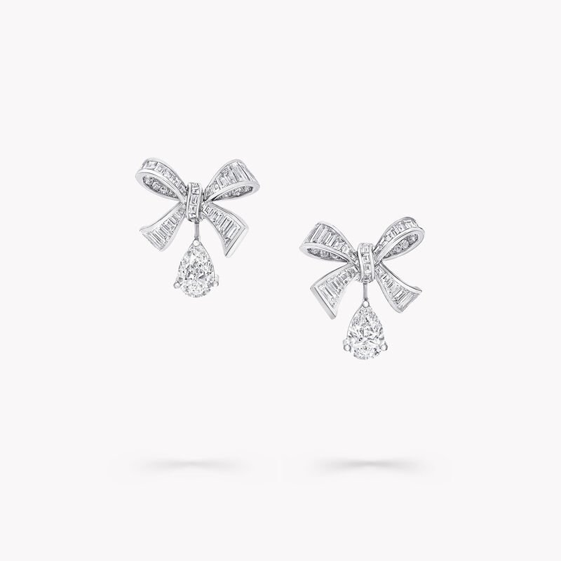 Tilda's Bow Baguette Cut Diamond Drop Earrings, , hi-res
