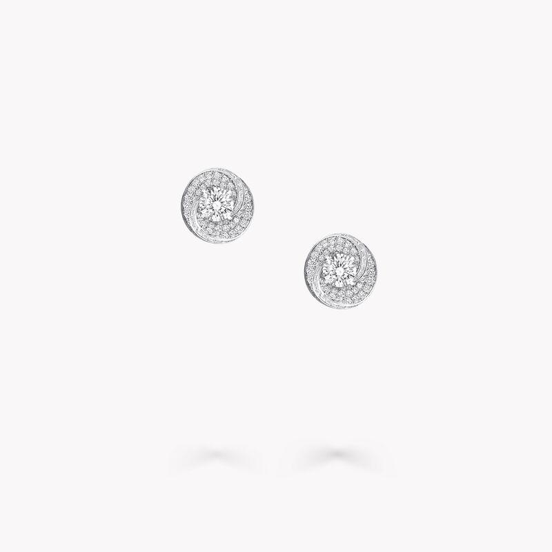 スワール ラウンド ダイヤモンド スタッド イヤリング, , hi-res
