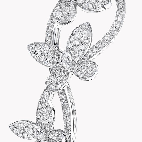 Triple Pavé Butterfly Diamond Necklace, , hi-res