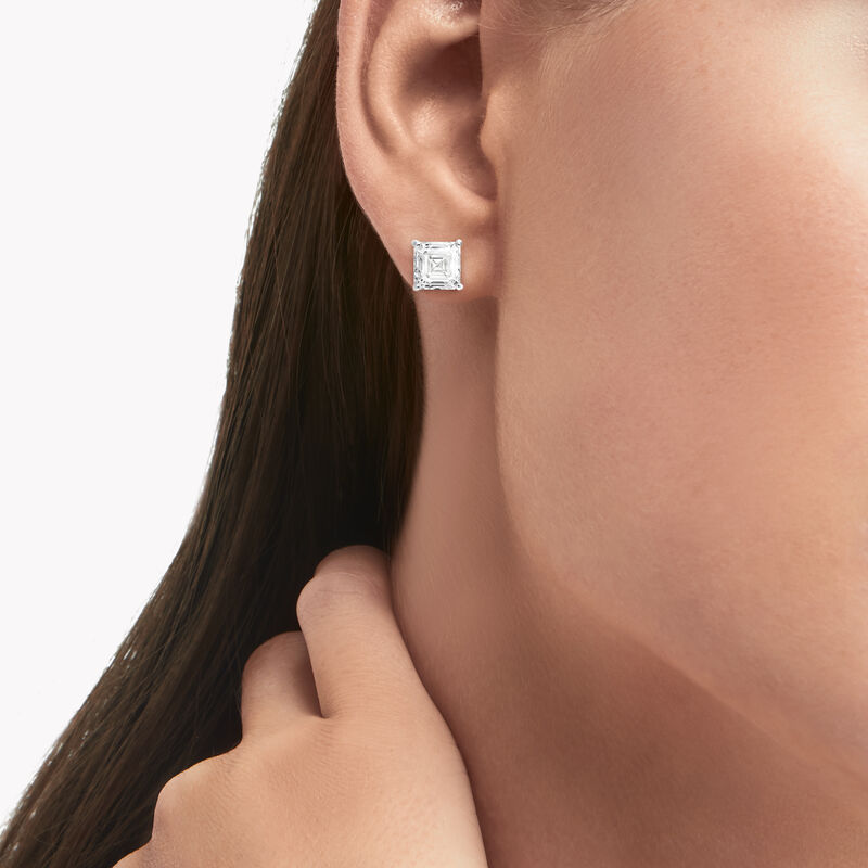 Emerald Cut Diamond Stud Earrings, , hi-res