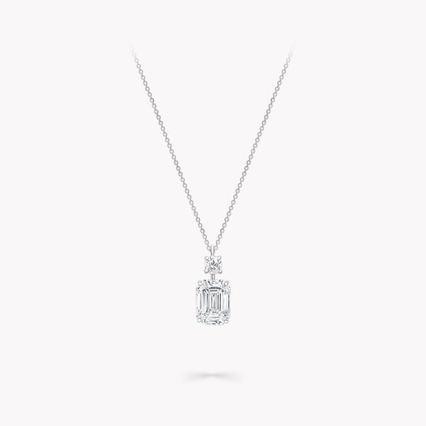 Emerald Cut Diamond Pendant, , hi-res
