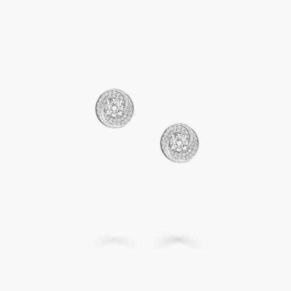 Swirl Round Diamond Stud Earrings, , hi-res
