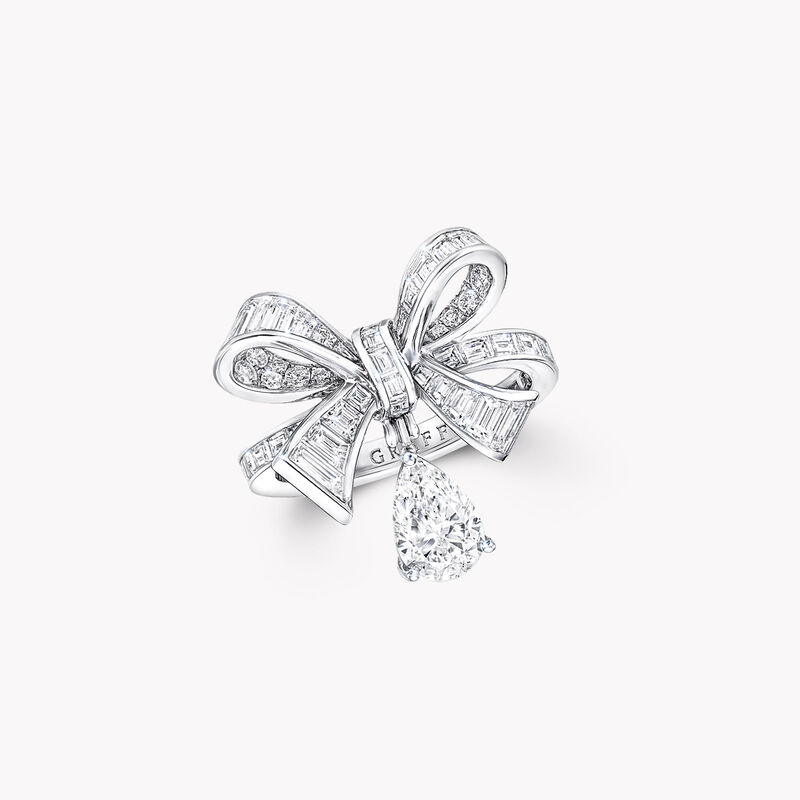 Tilda's Bow Baguette Cut Diamond Drop Ring, , hi-res