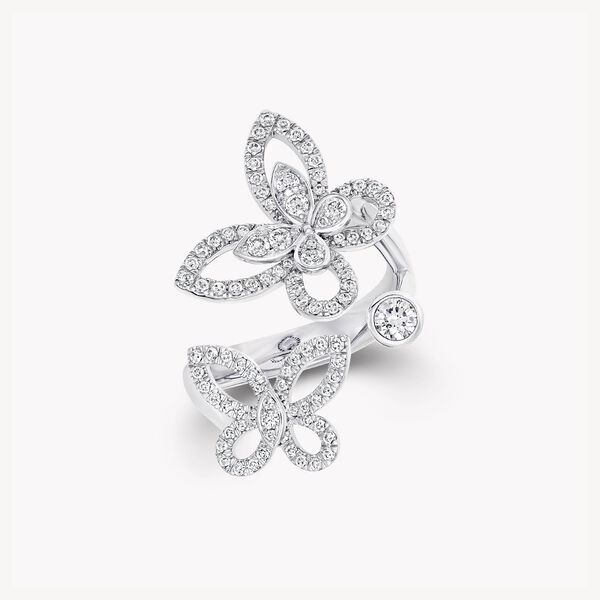 Multi Butterfly Silhouette Diamond Ring, , hi-res