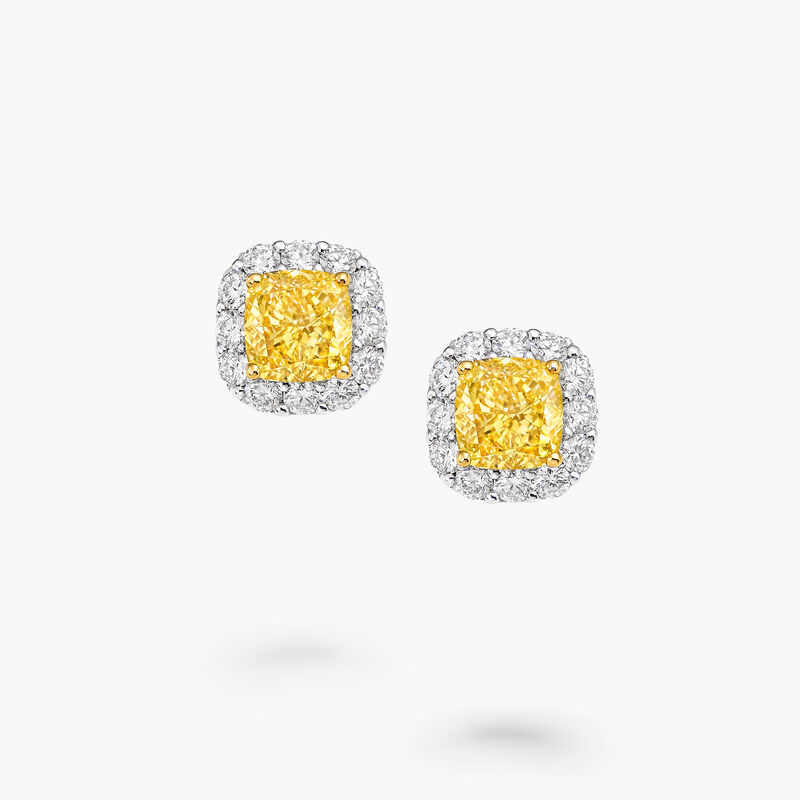 Icon Radiant Cut Yellow and White Diamond Earrings, , hi-res