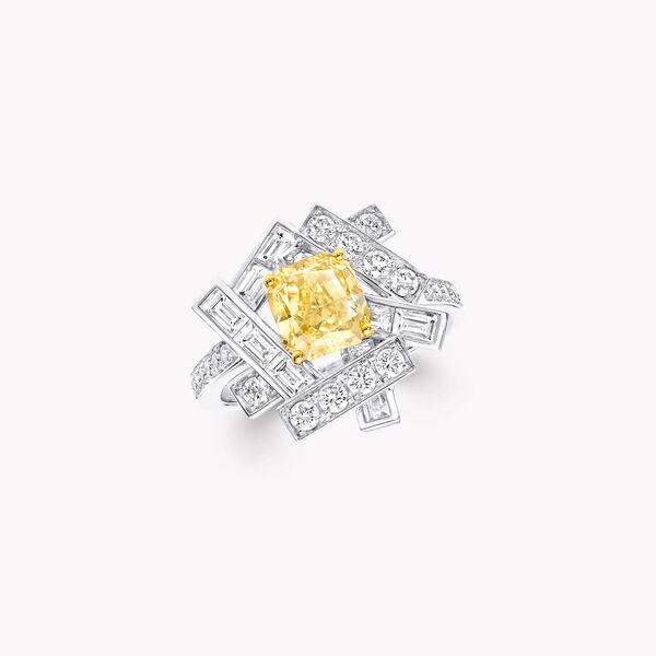 スレッド イエロー & ホワイト ダイヤモンド リング, , hi-res