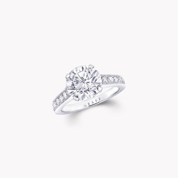Flame Round Diamond Engagement Ring, , hi-res