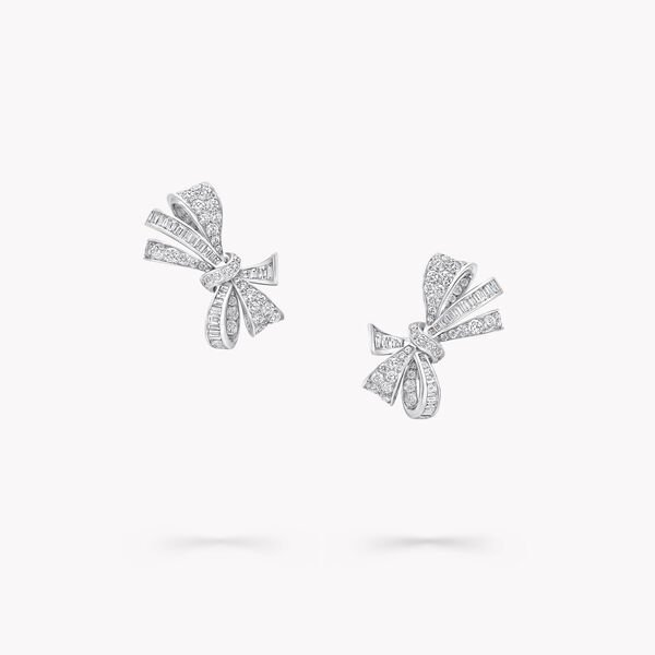 Clous d'oreilles en diamants Bow, , hi-res
