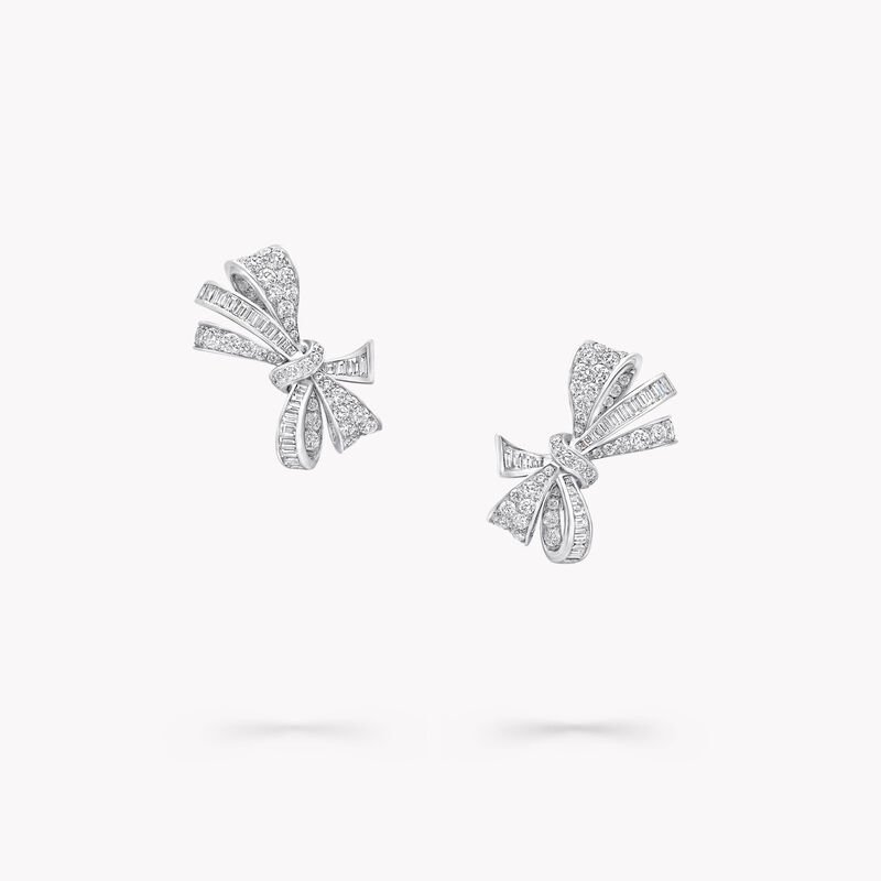 Bow Diamond Stud Earrings, , hi-res