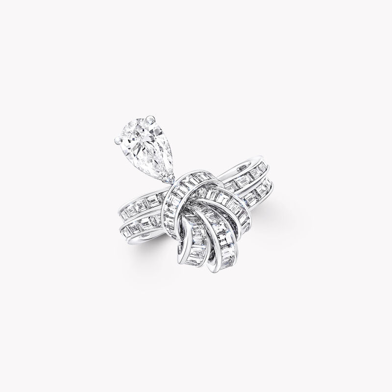 Tilda's Bow Baguette Cut Diamond Drop Ring, , hi-res