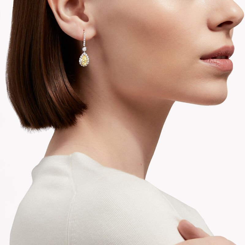 Icon Pear Shape Yellow and White Diamond Earrings, , hi-res