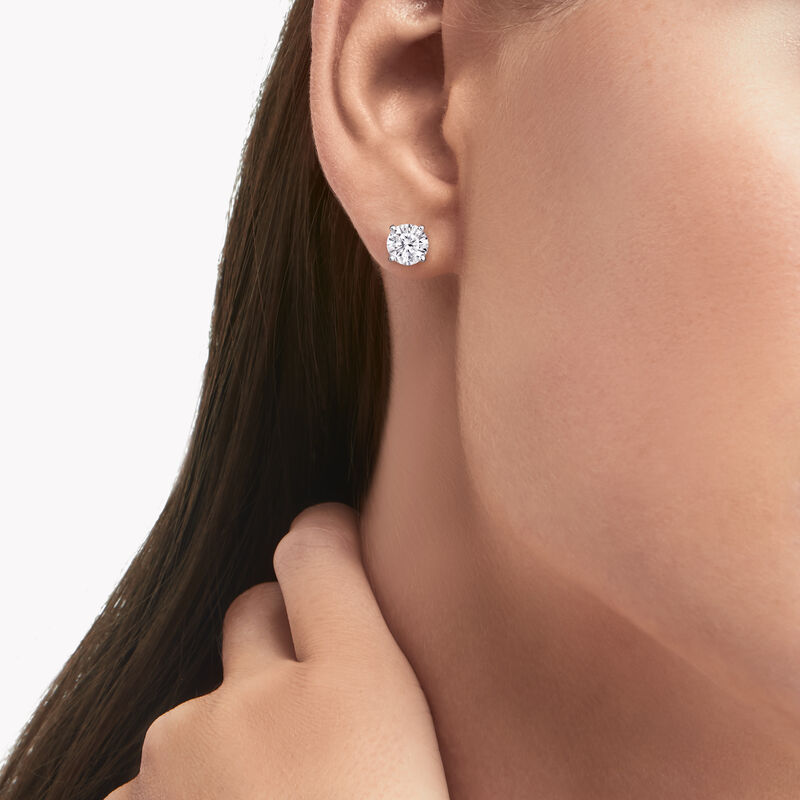 Clous d'oreilles ronds en diamants, , hi-res