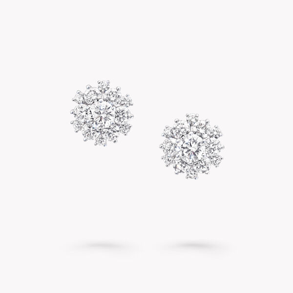 Round Diamond Cluster Stud Earrings, , hi-res