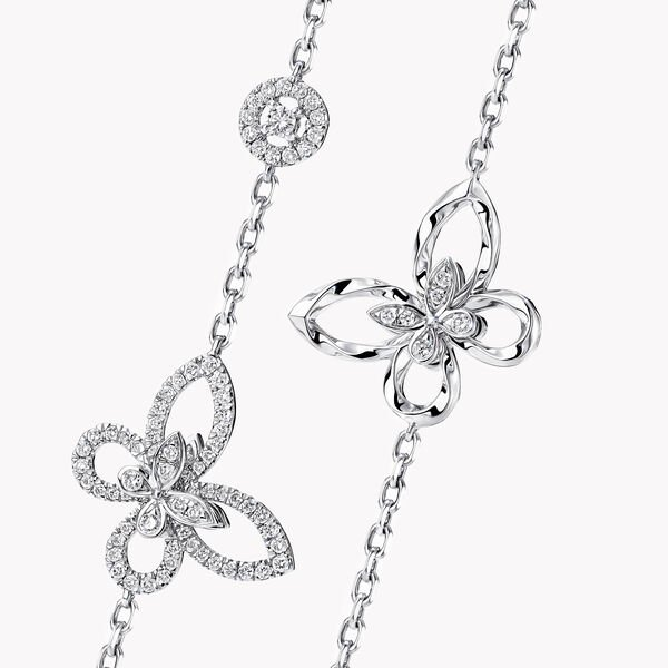 Butterfly Silhouette Diamond Long Necklace, , hi-res