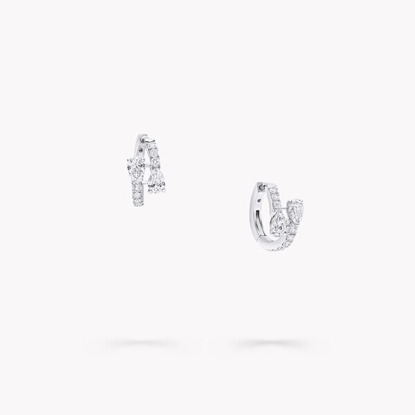 Duet Diamond Hoop Earrings, , hi-res