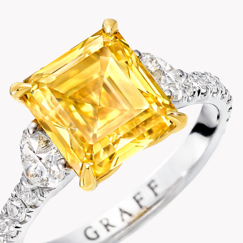 Emerald Cut Yellow and White Diamond High Jewellery Ring, , hi-res