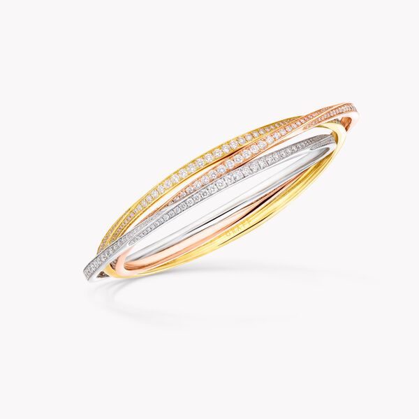 Triple Spiral Pavé Diamond Bangle, , hi-res