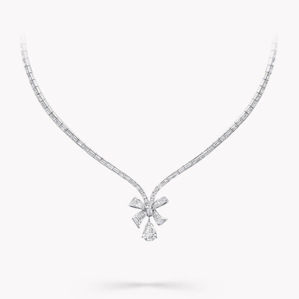 Bow Baguette Cut Diamond Necklace, , hi-res