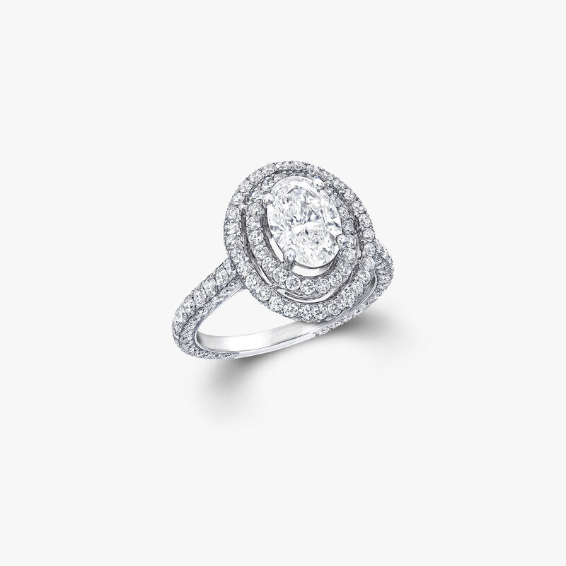 Twin Constellation橢圓形鑽石訂婚戒指, , hi-res