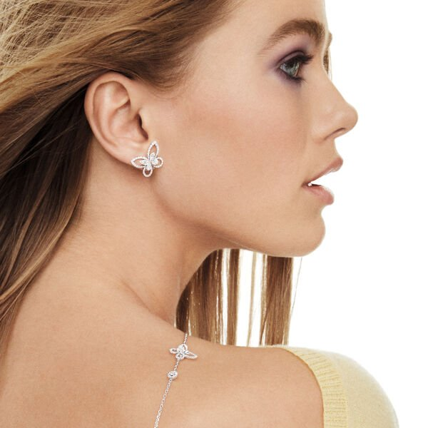 Clous d'oreilles en diamants Butterfly Silhouette, , hi-res