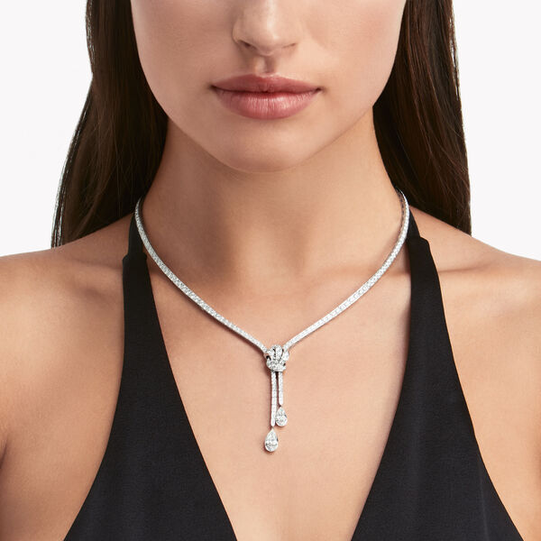 Knot Pavé Diamond Necklace, , hi-res