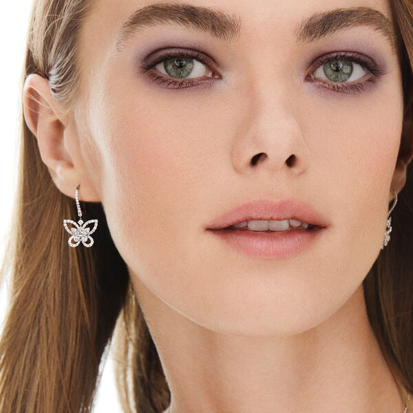 Butterfly Silhouette Diamond Drop Earrings, , hi-res