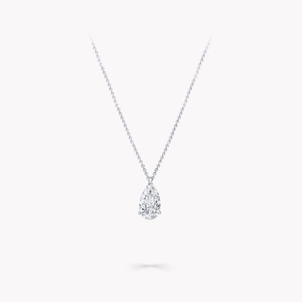 Pear Shape Diamond Solitaire Pendant, , hi-res