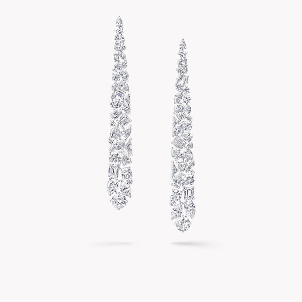Multi-shape Diamond Drop Earrings, , hi-res