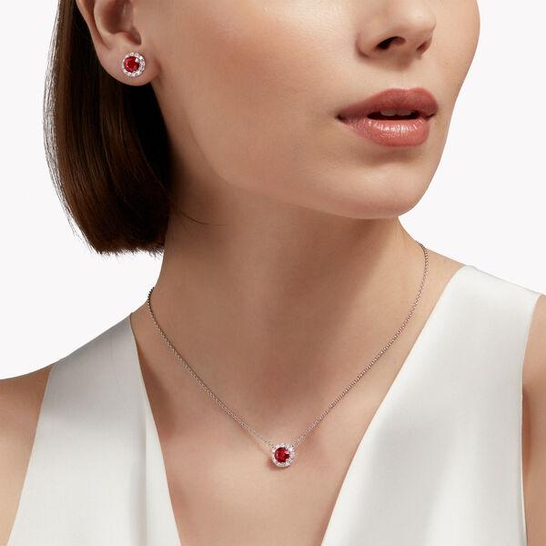 Clous d'oreilles Icône en diamant et rubis taille rond brillant, , hi-res