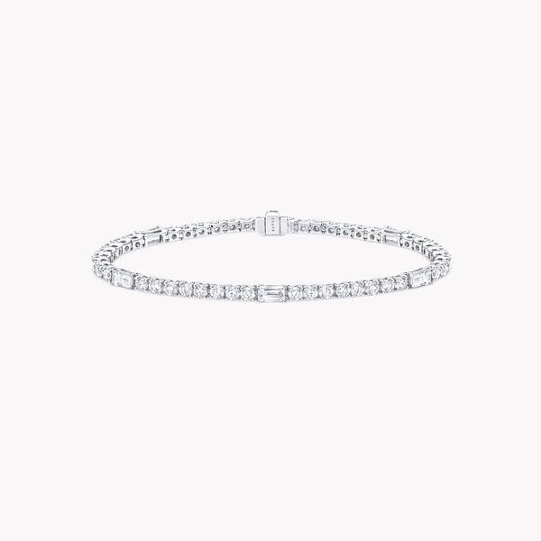 ラウンド&エメラルド カット ダイヤモンド ブレスレット, , hi-res