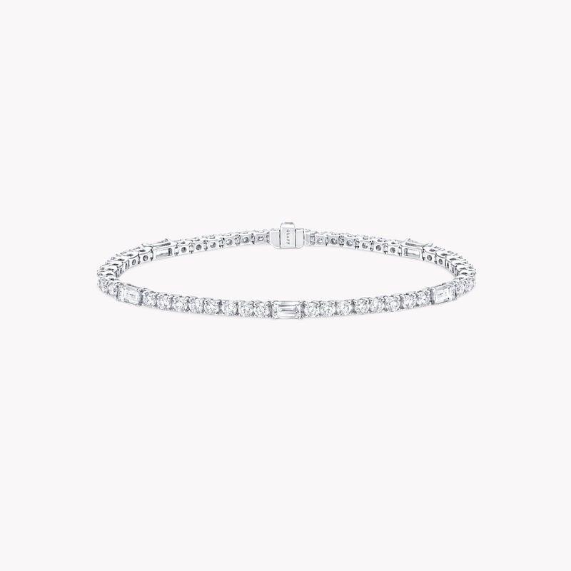 Round and Emerald Cut Diamond Bracelet, , hi-res