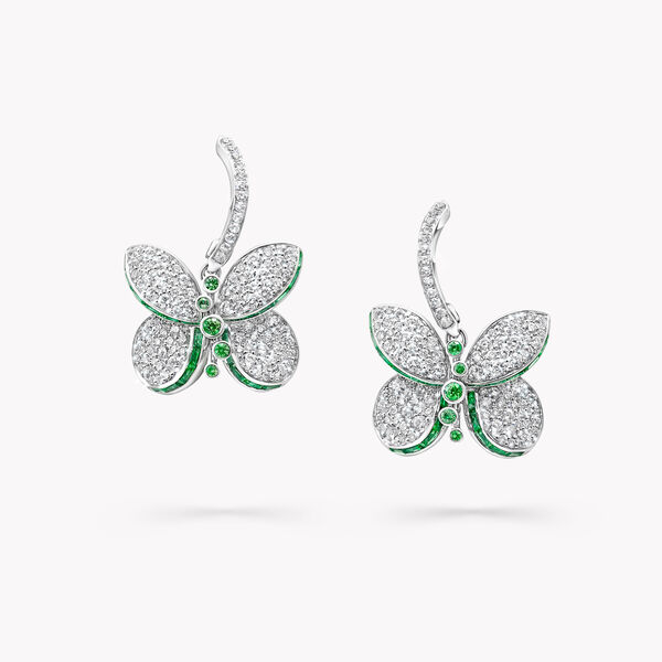 Boucles d'oreilles en émeraudes et diamants Princess Butterfly, , hi-res