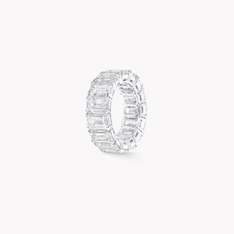 Emerald Cut Diamond Wedding Band, , hi-res