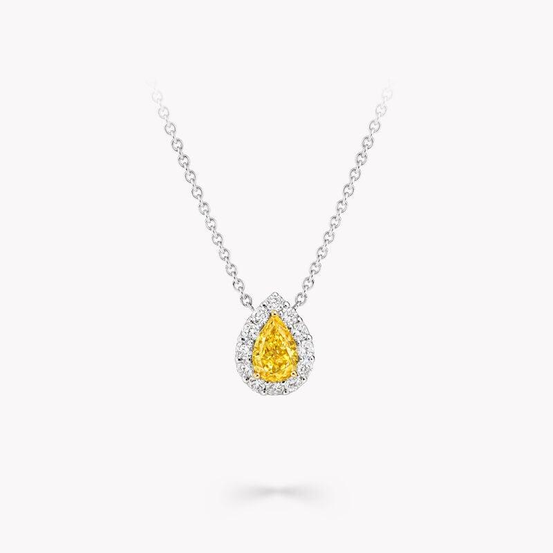 Icon Pear Shape Yellow and White Diamond Pendant, , hi-res
