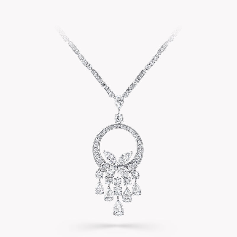 Classic Butterfly Chandelier Diamond Necklace, , hi-res