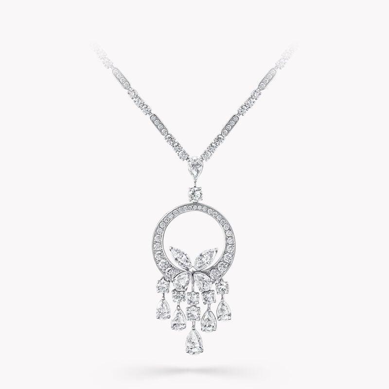 クラシック バタフライ シャンデリア ダイヤモンド ネックレス, , hi-res