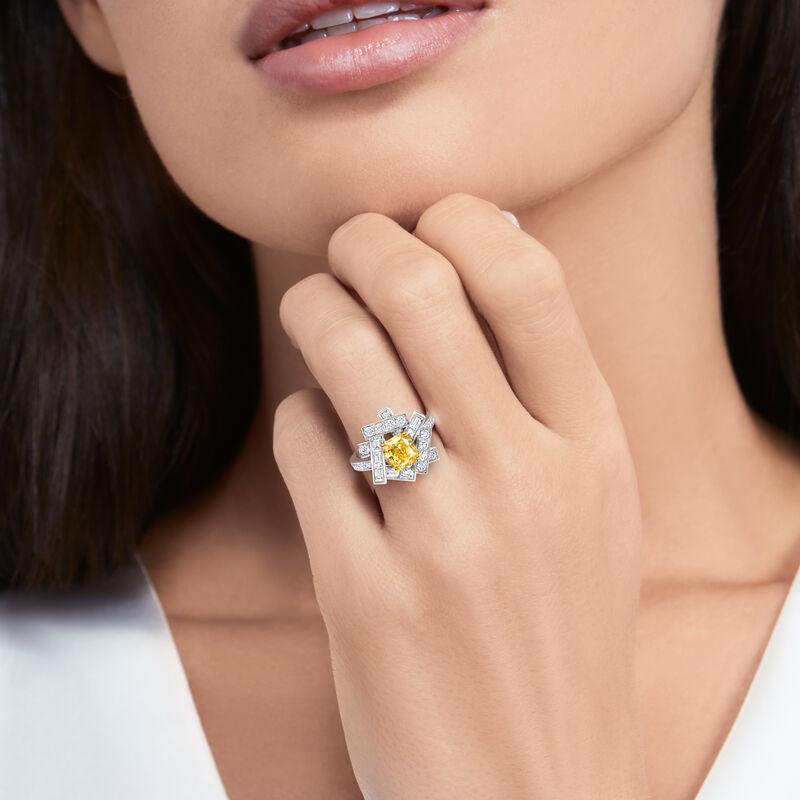스레드 옐로우 및 화이트 다이아몬드 링, , hi-res