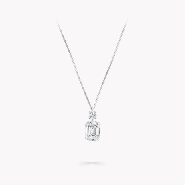 エメラルドカット ダイヤモンド ペンダント, , hi-res