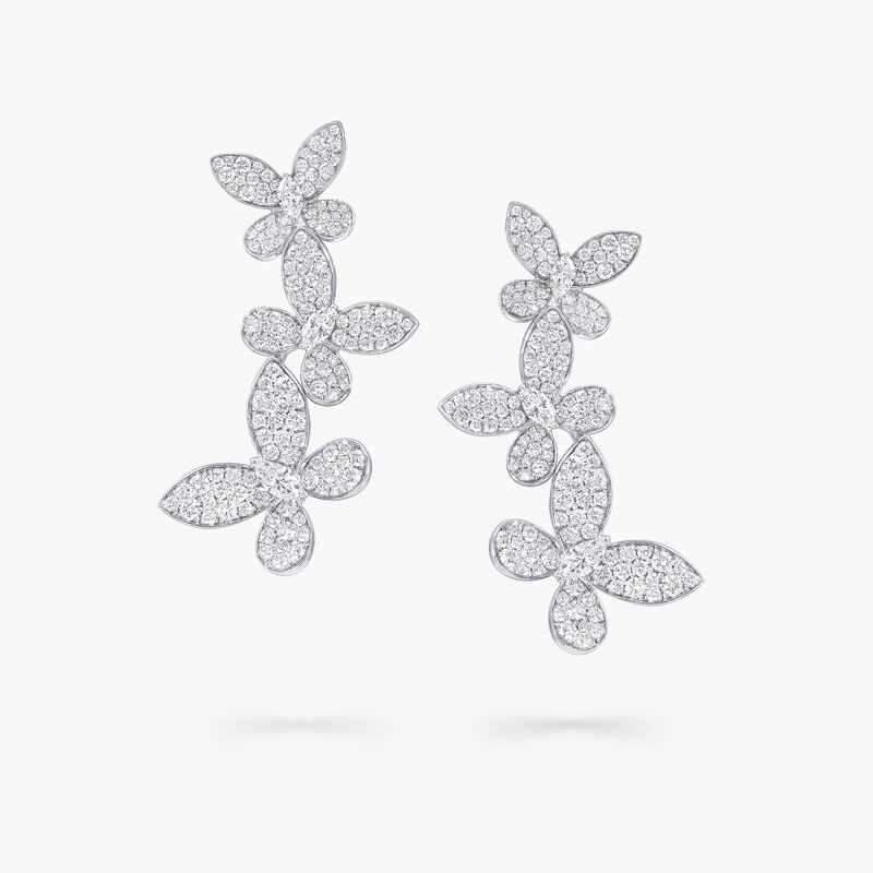 Triple Pavé Butterfly Diamond Drop Earrings, , hi-res
